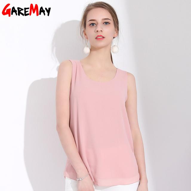 Women Chiffon Blouse Top Feminine Blouse Womens Summer Tops And Blouses Chiffon Chemise Femme Women Blouses Sleeveless Camiseta