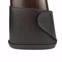 Tourbon Rifle Gun Buttstock Genuine Leather Slip On Shotgun Shooting Recoil Pad Brown With Velco Hunting