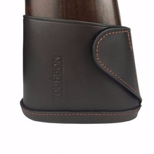 цена на Tourbon Rifle Gun Buttstock Genuine Leather Slip-on Shotgun Shooting Recoil Pad Brown with Velco Hunting Accessories