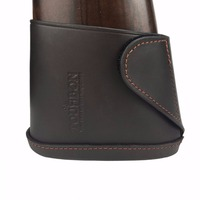 Tourbon Rifle Gun Buttstock Genuine Leather Slip on Shotgun Shooting Recoil Pad Brown with Velco Hunting Accessories