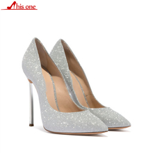2019 New Spring/Autumn Women Pumps High Thin Heels Pointed Toe Shallow Sexy Bling Bridal Wedding Women Shoes Silver High Heels jawakye bling gold silver pumps women sequin high heels metal chain silk ribbon wedding bridal shoes women chaussure femme