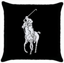 Envío gratis modificó caballo de Polo negro dos lados de moda tiro con cremallera funda de almohada Throw almohada cubierta