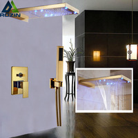 Golden LED Color Changing Two Functions Brass Showerhead Bathroom Shower Mixer Tap Shower Faucet with Handshower