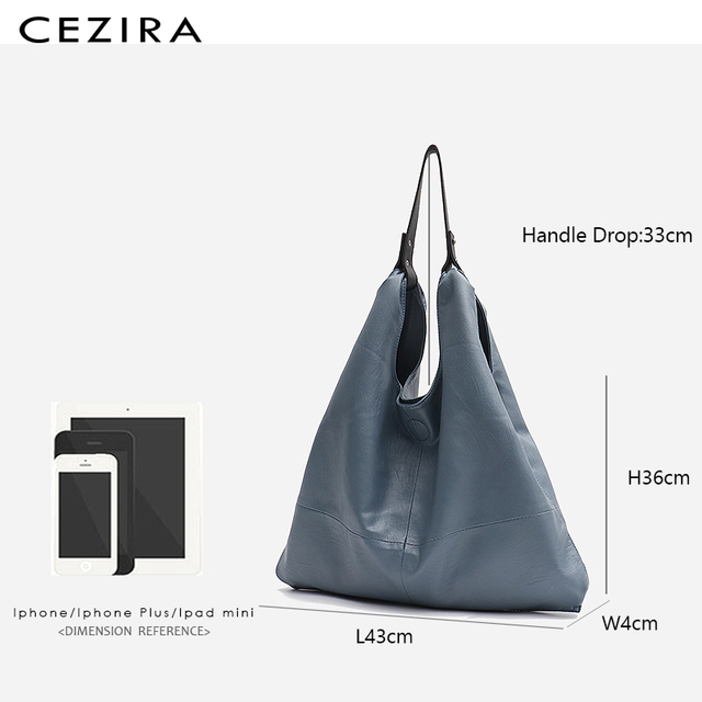 CEZIRA Large Hobo Bags Women Vegan Leather Shoulder Bags Soft High Quality PU Fashion Casual Style Ladies handbags Shopping Bags 3
