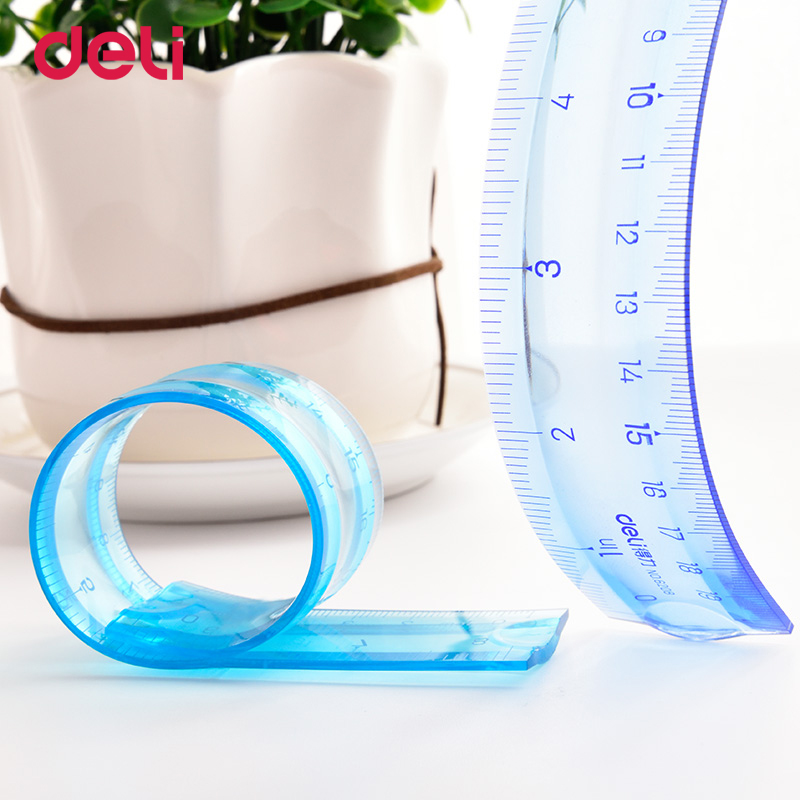 Deli Soft Ruler Multicolour Student Flexible Ruler Infinite Bending Tape Measure Straight Ruler Office School Supplies