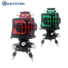 Ketotek مستوى الليزر 12 خطوط ثلاثية الأبعاد التسوية الذاتية 360 أفقي عمودي الصليب سوبر قوية شعاع الليزر الأحمر خط داخلي في الهواء الطلق