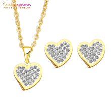 Jewelry Accessories - Fashion Jewelry - Yunkingdom Brand White Crystals Romantic Heart Fashion Stainless Steel Jewelry Sets For Women Necklaces Earrings Sets UE117