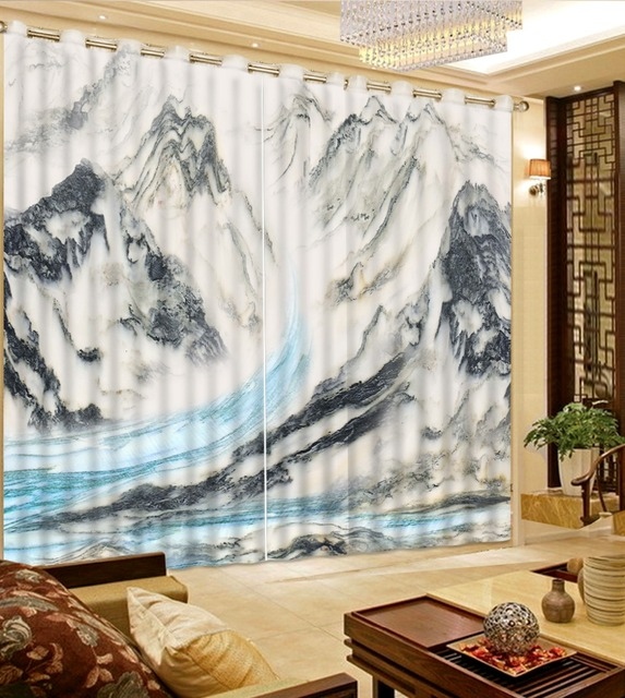 Photo Curtains 3d Patterned Window Gray Marble Modern For Living Room Printed