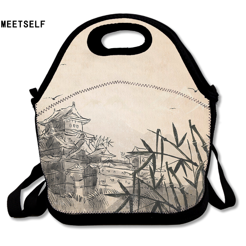 SAMCUSTOM 3D Print Chinese Landscape Painting Lunch Bags Insulated Waterproof Food Bag Girl Packages Womens Kids  Boys Handbags