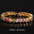 Top Quality Oval Shape Crystals Paved   Gold Plated Women Tennis Bracelets With Multi Colored Zircon Stone 168
