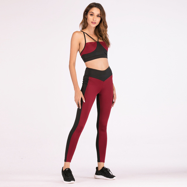 a6089def6c9 Burgundy Casual Cami 2 Piece Set 2018 Women Ringer Brief Crop Top With Drawstring  Leggings suit Summer Color Block Two Piece Set