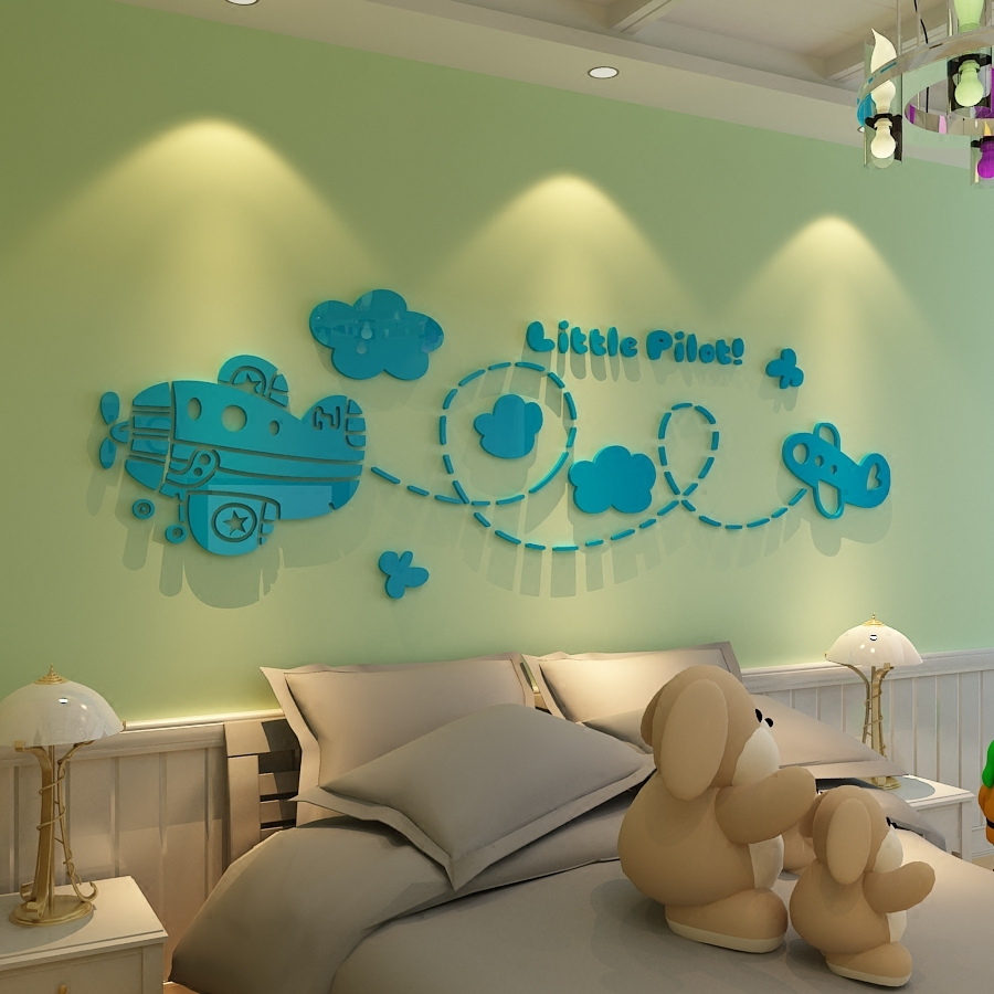 Small Aircraft Pilots Acrylic Wall Stickers Cartoon Childrens Room