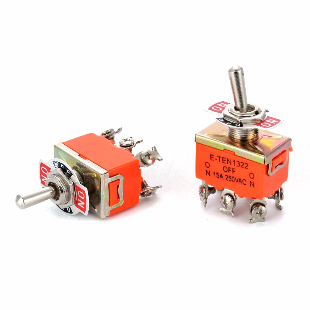 2pcs R-1322 Metal Resin DPDT Switches AC 250V 15A ON/OFF/ON 3 Position Mini Toggle Switch For Switching Lights Motors