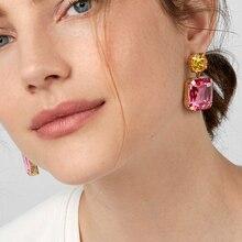JUJIA, 11 цветов, хорошее качество,, ювелирные изделия, винтажные, простые, Кристальные, массивные, модные, квадратные, Кристальные, висячие серьги для женщин