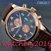 Newest Simple Corgeut 46mm black dial rose golden Case mixed strap of the cloth and leather Quartz Mechancial Mens Wristwatches