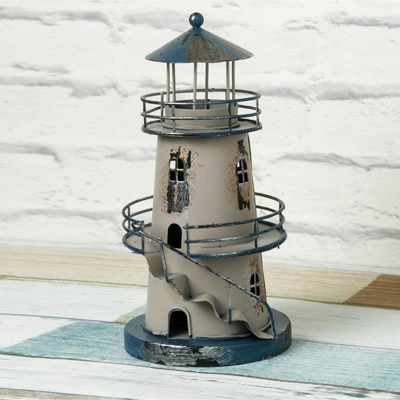 Lighthouse Beacon Tower Figurines Figure Shelf Deco Gift Crafts Metal Miniature Home Decor In Miniatures From Garden On Aliexpress