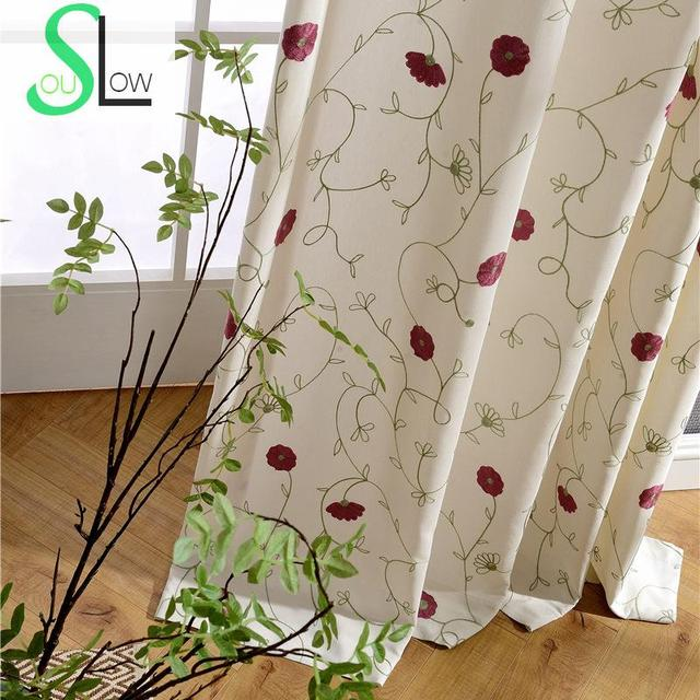Slow Soul Light Red Blue French Window Embroidered Floral Curtains For  Living Room Curtain Kitchen Bedroom