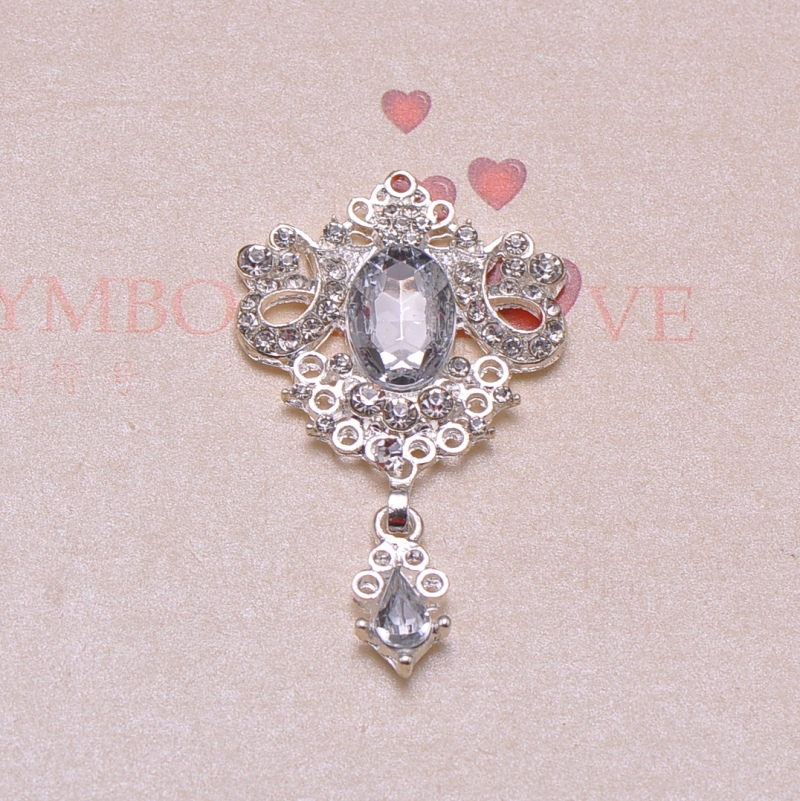 J0333 100pcs lot rhinestone button silver plating clear crystals and acrylic beads flat back