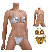Mosaico bikini dorado 2 uds conjunto mujer charol Lencería exótica vendaje Biquini traje de baño brillante Sexy Sukumizu PU t-back Gstring