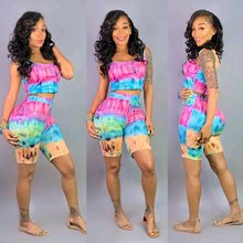 2019 Women Tie Dye Print Two Piece Set Sexy Tank Top And Biker Shorts Matching Sets O Neck Sleeveless Casual Club Outfits недорого
