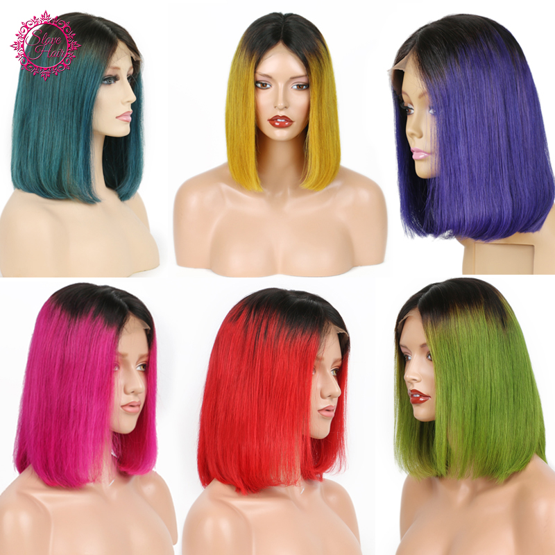 13 4 Ombre 1B Color Lace Front Human Hair Wigs Brazilian Remy Straight Short Bob Lace
