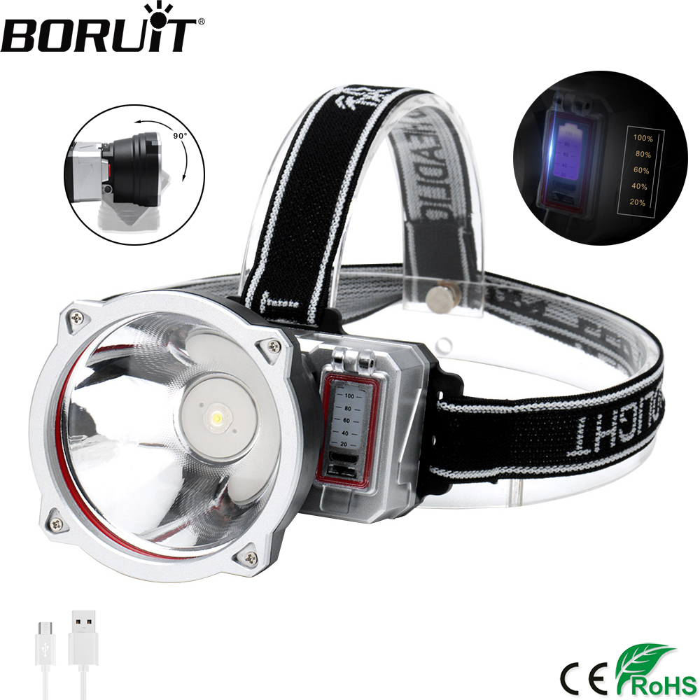 BORUiT Powerful XPE LED Headlamp 3-Mode USB Charger Headlight Built-in 18650 Battery Head Torch Fishing Camping Flashlight