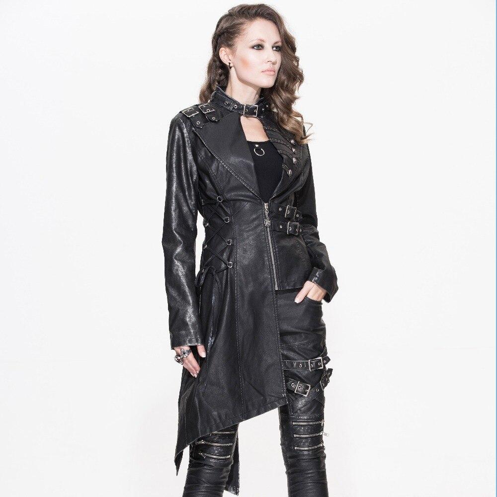 Devil Fashion Heavy Punk seksi asimetrične jakne od umjetne kože za - Ženska odjeća - Foto 2