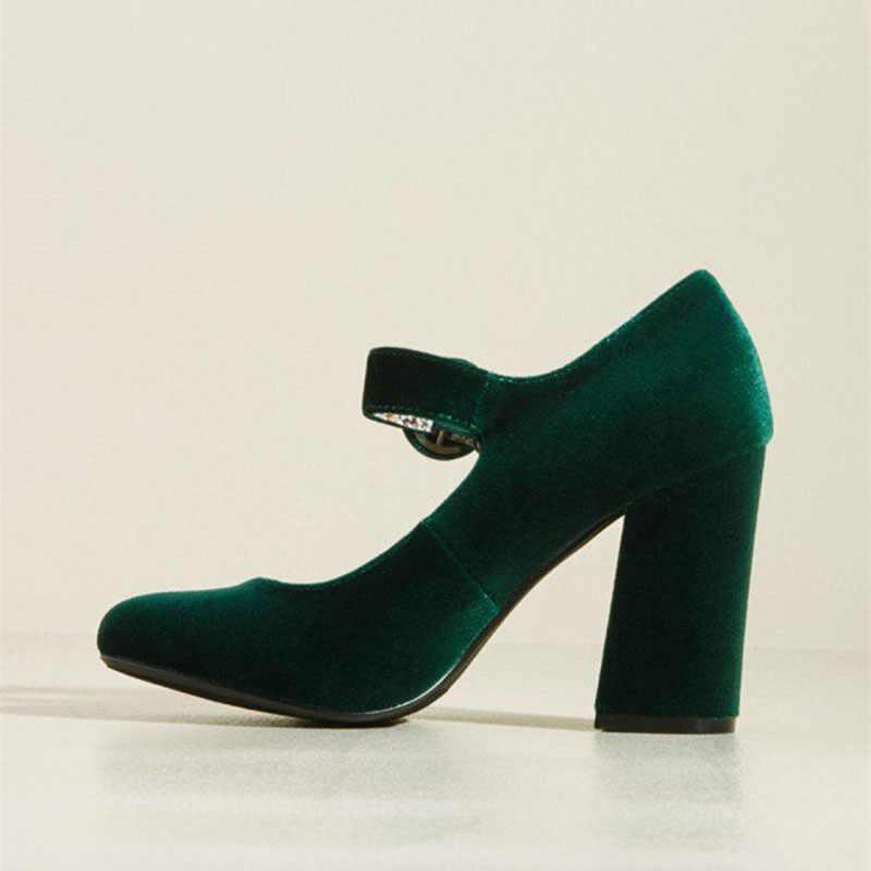 c3133e494 ... FSJ Women Shoes Ladies Pumps Block 2018 Spring Autumn Green Velvet Mary  Jane Pumps Block Heel