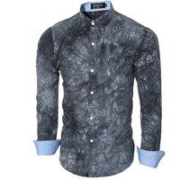Men Shirt Luxury Brand 2016 Male Long Sleeve Shirts Casual Printing Tie Dye Slim Fit Dress