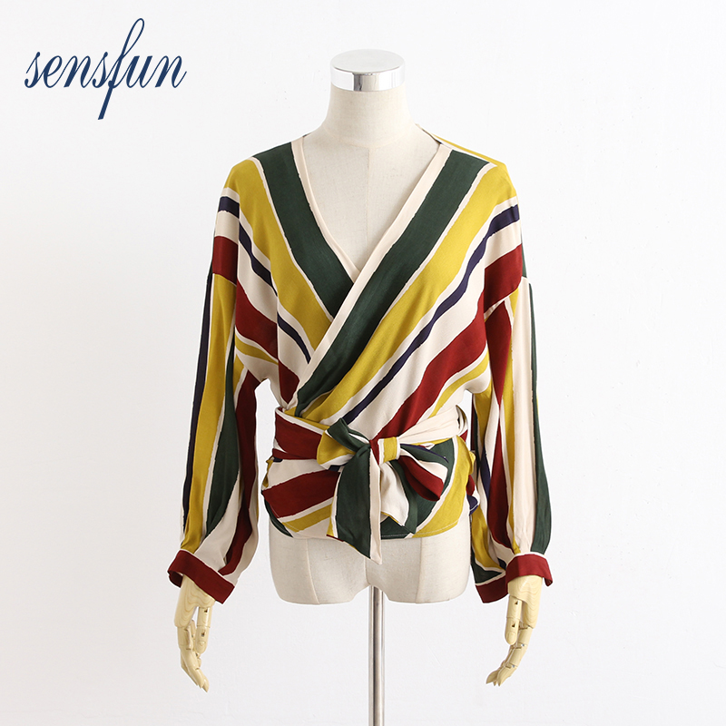 Sensfun 2018 Sexy V-Neck Women Blouses Shirts Women Sexy Tops Long Sleeve Ladies Shirt Tops Clothing Blusas With Striped