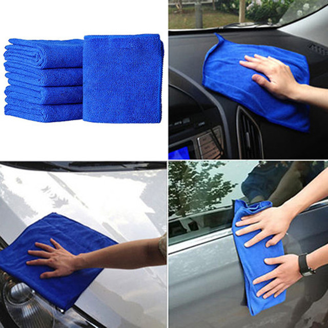 Auto Car 5PC Blue Soft Absorbent Wash Cloth Car Auto Care Microfiber Cleaning Towels Durable Car Cleaning Auto Cleaner Car Brush