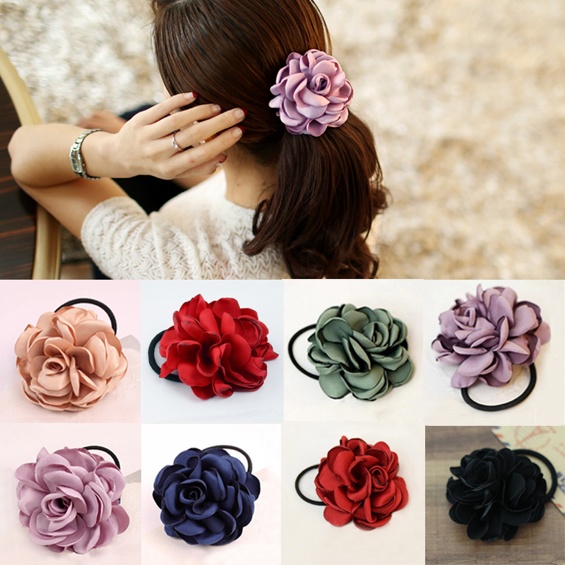 Sale 1Pc Fabric Mulit Camellia Flower Elastic Hair Bands Rope Ties Floral Headwear