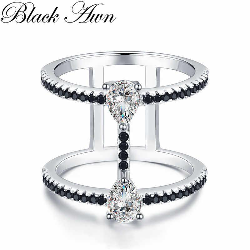 2019 New bijoux Alla Moda 925 Sterling Silver Gioielleria Raffinata Nero Spinello Anello di Fidanzamento per Le Donne Anillos Mujer G065