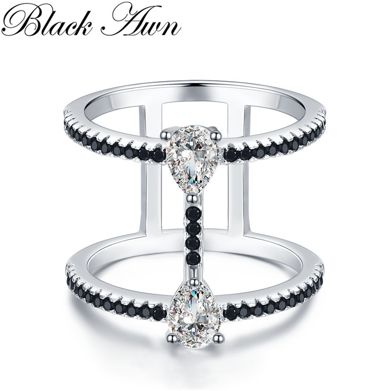 2019 New Bijoux Trendy 925 Sterling Silver Fine Jewelry Black Spinel Engagement  Ring For Women Anillos Mujer G065
