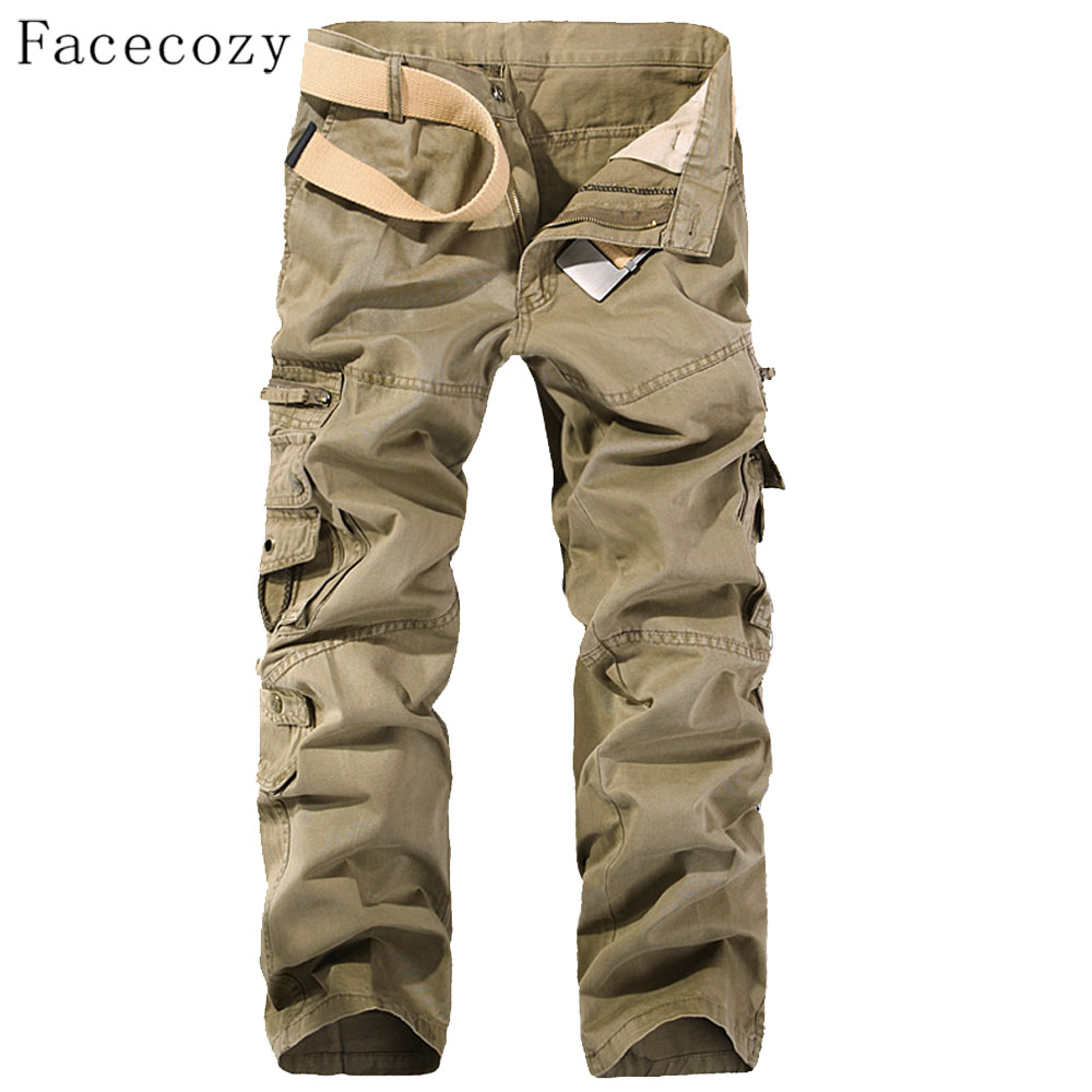 Facecozy Men Autumn Windproof Outdoor Pant Male Trekking Sports Trouser With Multi-Pockets Plus Size outdoor sports pockets sv012199