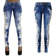 Denim Women Jeans long trousers femme hipster casual hollow frayed ripped lace white black slim skinny pencil club party pants