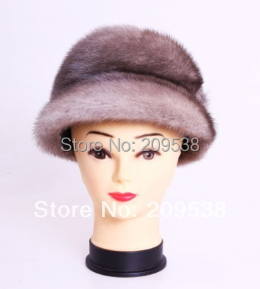 Cheap 2014 New Style Genuine whole mink Fur Hat Natural  Fur Caps Fashion Women  Headgear Various Colors