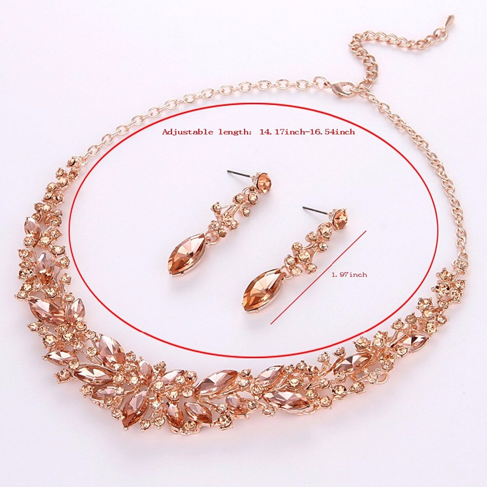 Crystal Wedding Bridal Jewelry Sets Silver Color rose gold color birdesmaid Rhinestone Wedding Jewelry Necklace Sets for Women 4
