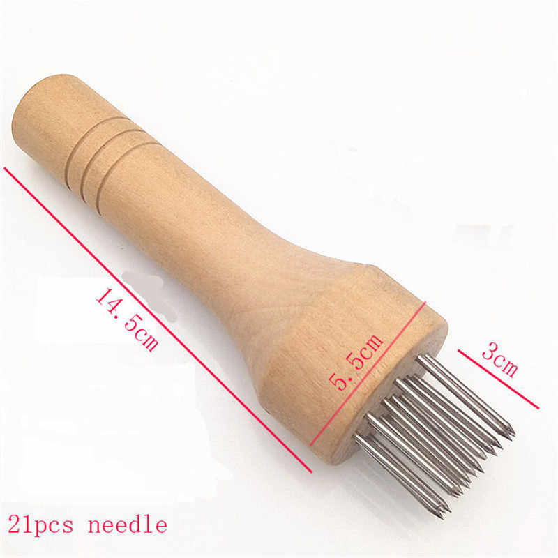 Stainless Steel Meat Needles Pounders With Wooden Handle Profession Meat Tenderizer Needle For Beef Tender Steak Kitchen Tools