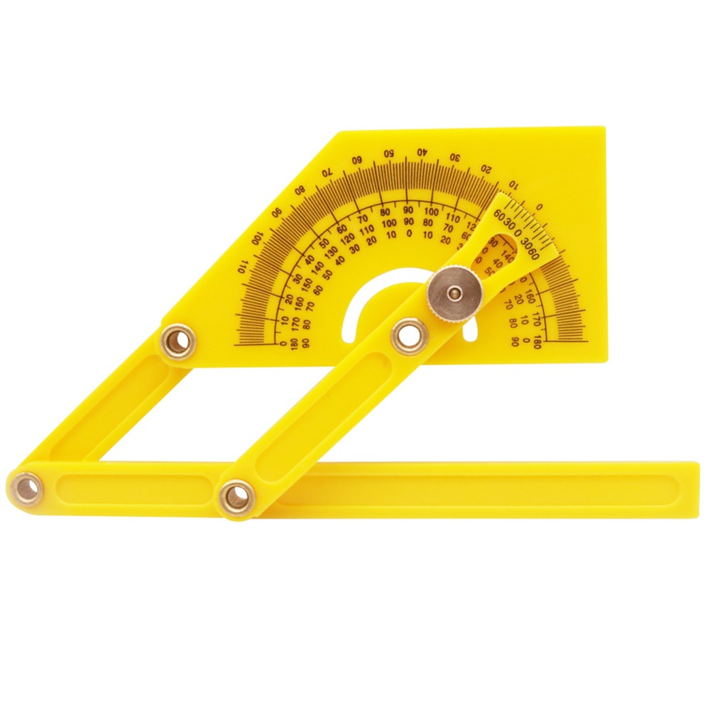 1 Pcs Yellow Template Tool Angle Protractor Scale Tool  Angle 180 Degree Ruler Foldable Easy To Carry Measuring Supplies