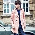 Англия Благородный Мужская Весна/Осень Двойной Брестед Длинный Розовый Траншеи Пальто Мужчины Британский Slim Fit Высокое Качество Плащ Подарки пальто