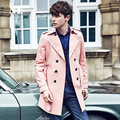 Inglaterra Nobres Dos Homens Primavera/Outono Double Breasted Longo Trench Coat Rosa Homens Trenchcoat Britânico Slim Fit Top Quality Presentes sobretudos