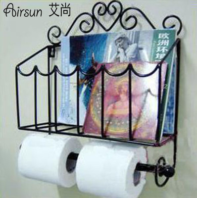 Wrought Iron Bath Towel Rack, Bathroom Hanging Towel Rack Wall Magazine Rack  Toilet Paper Rack