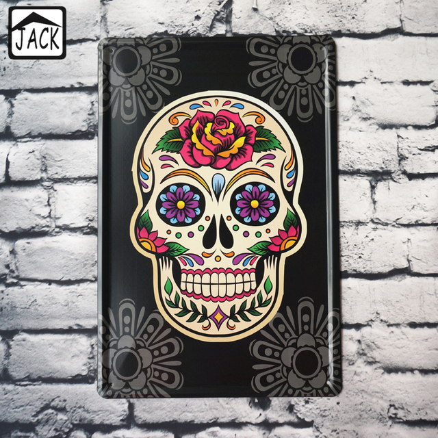 Rock Roll Skull Heads Face Metal Tin Signs Bar Cafe Gallery Lounge Home Wall Decor