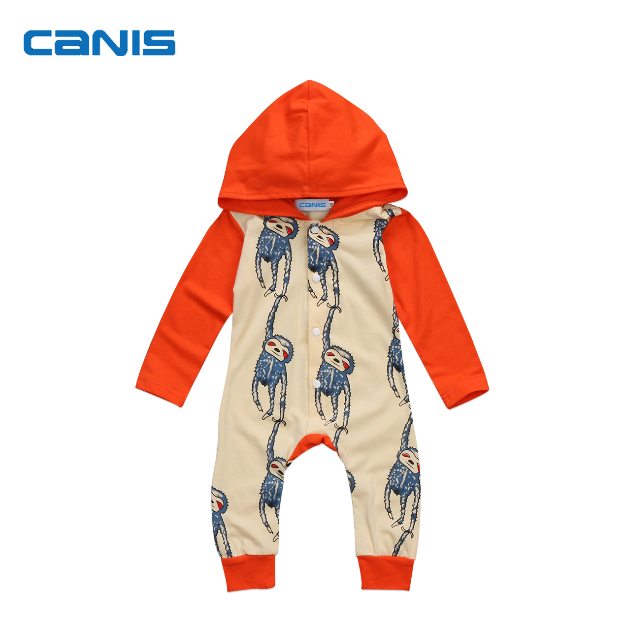 Hot Cute Newborn Baby Boy Girl Hooded Romper Cartoon Print Long Sleeve Monkey Jumpsuit Autumn Toddler Baby Kids Clothes Outfit