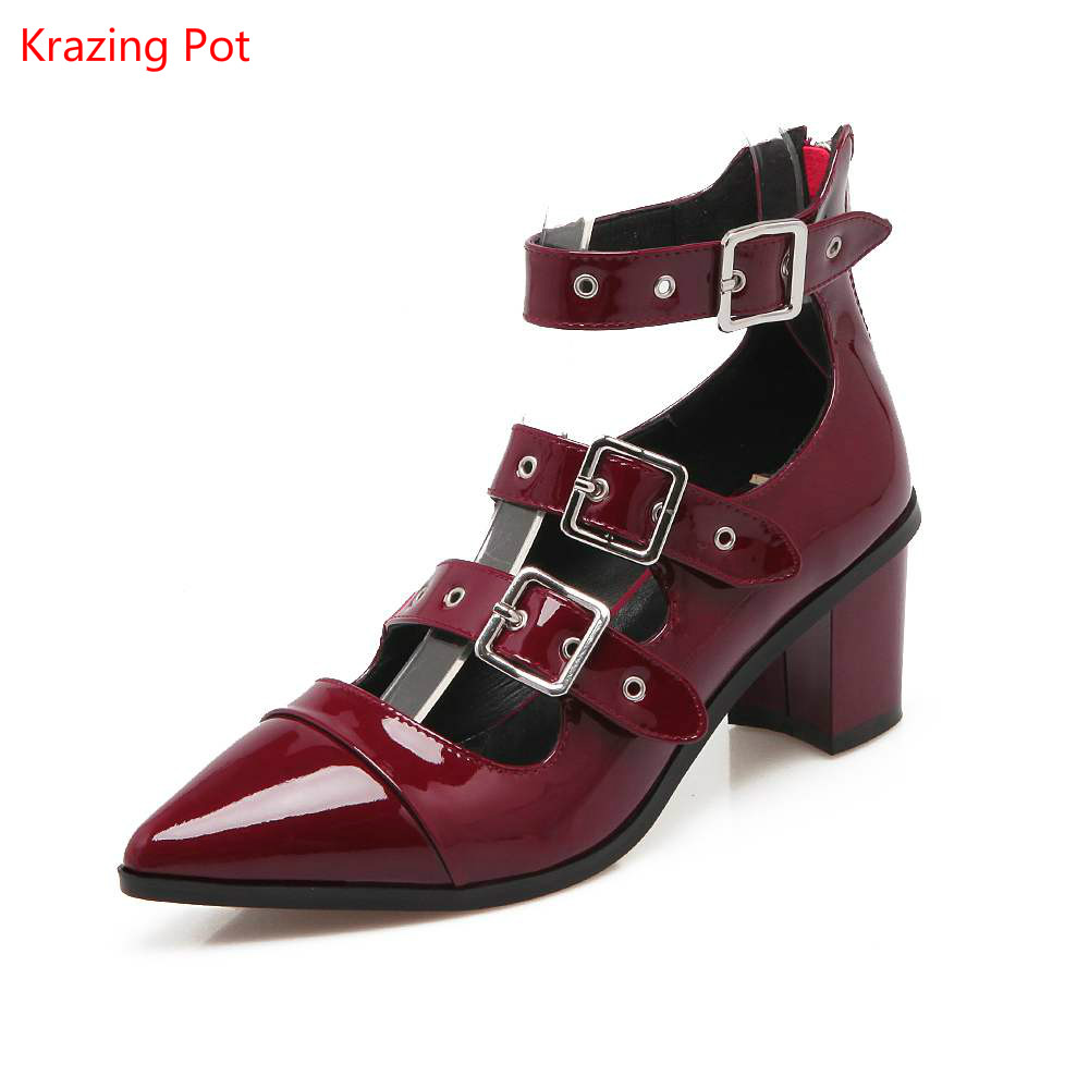 Solid Ankle Strap Gladiator High Heel Pointed Toe Genuine Leather Square Heel Grace Women Shoes Buckle Rivet Models Handmade L01 women black shoes sheepskin genuine leather women shoes suede pointed toe rivet solid color buckle ladies causal ankle boots