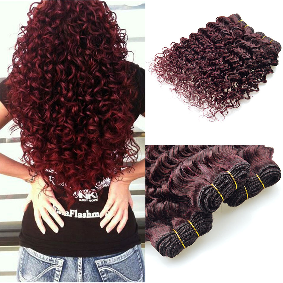 3Pcs/lot Brazilian 99J Human Hair Weaves 100% Human Hair ...