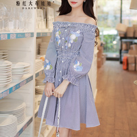 Dabuwawa Sexy Off Shoulder Embroidery Midi Dresses Vestidos Puff Sleeve Ruffle Casual Beach Swing Dress for Women Girl Female