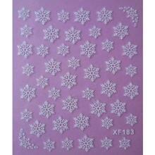Белая 3d Снежинка дизайн переводные наклейки для ногтей женские