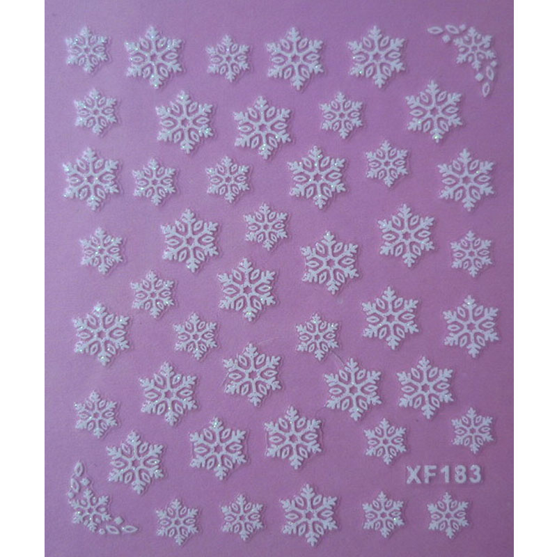 white 3D snowflake design Water Transfer Nails Art Sticker decals lady women manicure tools Nail Wraps Decals one bottle cute white little snowflake pattern nail sticker